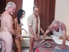 Group, Babe, High definition, Latina, Old man, Gangbang, Banging, Old, Horny, Hardcore, Blowjob, Pornstar