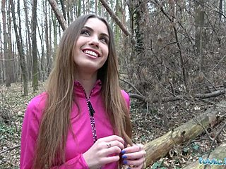 Behind girl stranger outdoors from sex