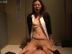 Sexy, Glasses, Asian, Elevator, Sucking